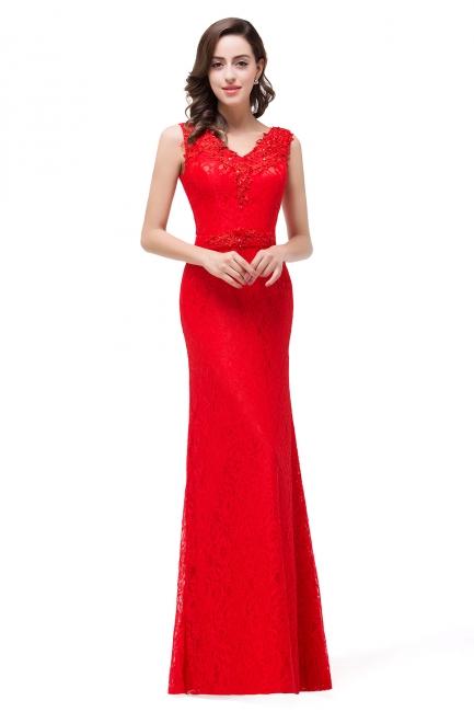 Rotes Abendkleid Lang V Ausschnitt | Schlichtes Abibalkleid
