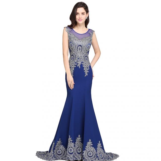 Abendkleider Lang Blau | Abiballkleider mit Glitzer