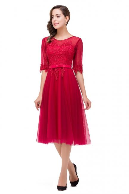 Rote Cocktailkleider Kurz   Abendkleider mit Spitzen Ärmel