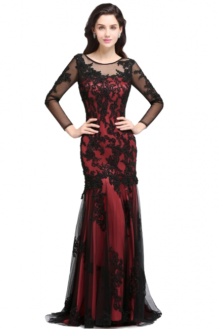 Designer Abendkleid Lang Schwarz   Abiballkleider mit Spitze