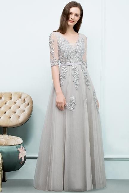 Abendkleid Lang V Ausschnitt   Abiballkleider mit Ärmel