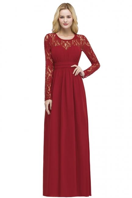 Elegante Abendkleider Lang Rot | Abiballkleider mit Ärmel