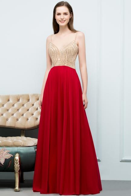 Abiballkleider Günstig Rot   Abendkleid Lang V Ausschnitt