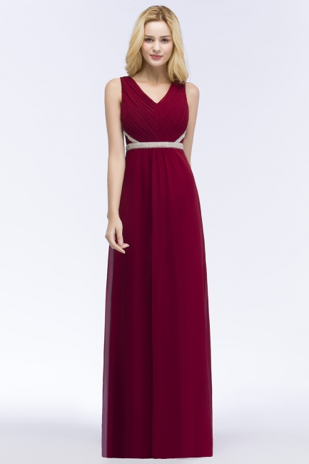 Designer Abendkleid Lang V Ausschnitt | Rote Abiballkleider Günstig