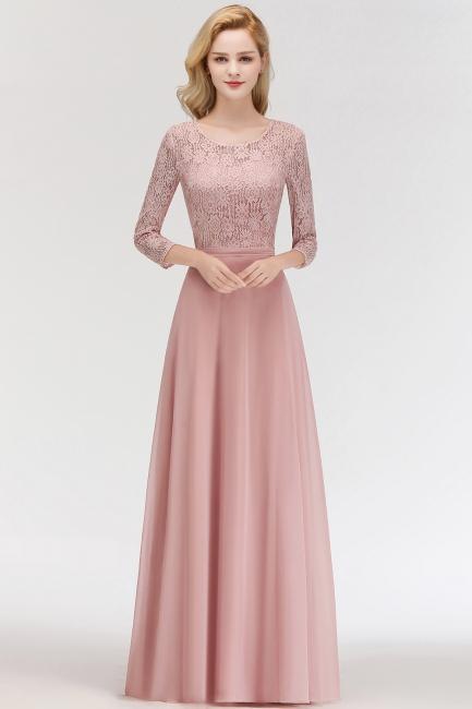 Abiballkleider mit Ärmel   Rosa Abendkleid Lang