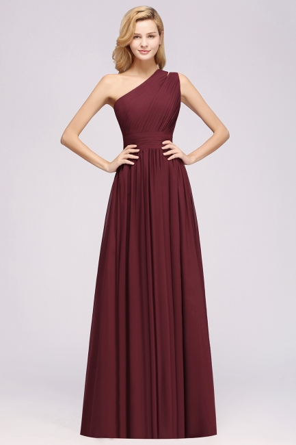 Elegante Abendkleider Lang Günstig | Chiffon Brautjungfernkleider Weinrot