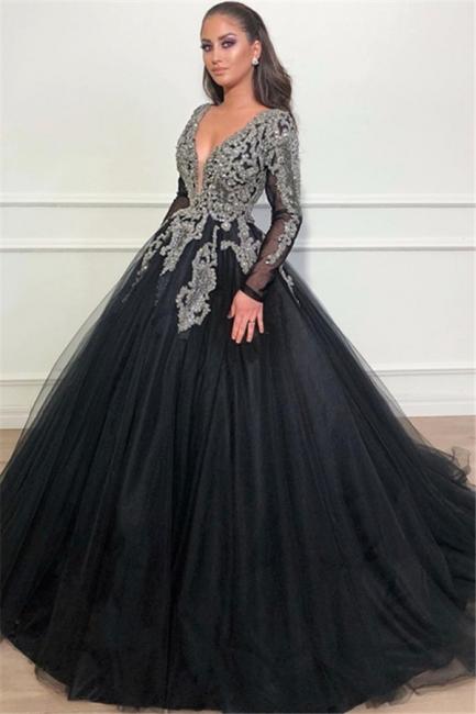 Günstige Abendkleider Lang Mit Ärmel   Abendmoden Schwarz Online Kaufen