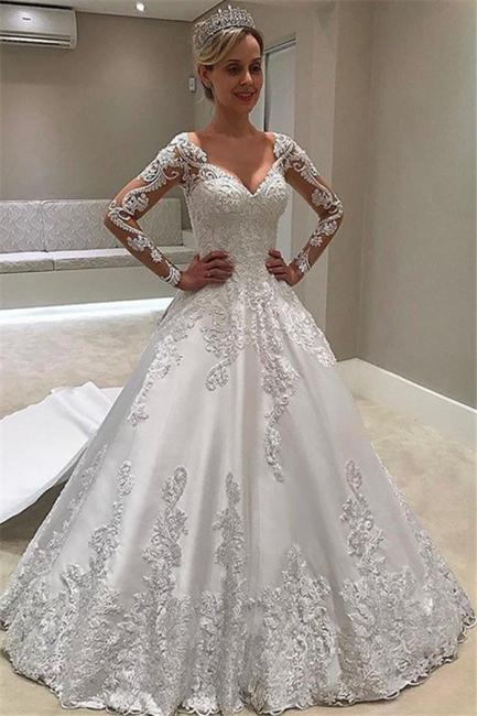 Designer Brautkleider Mit Ärmel | Spitze Hochzeitskleid A Linie