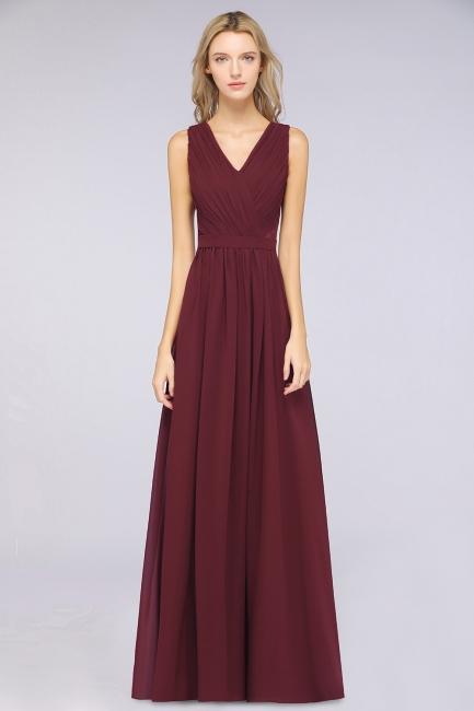 Abendkleid Lang V Ausschnitt | Brautjungfernkleider Günstig Weinrot