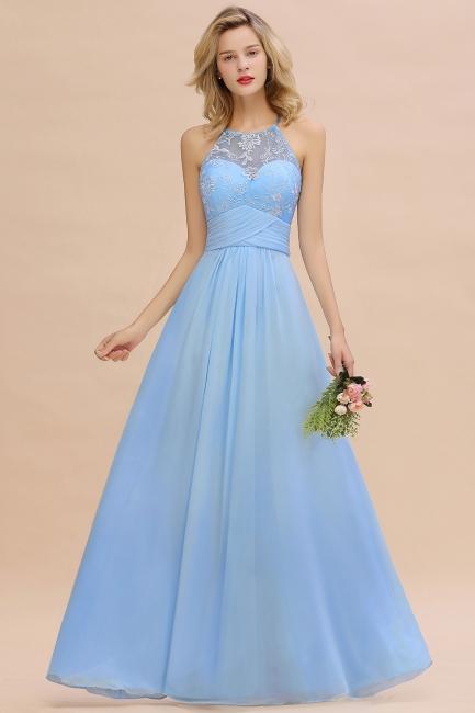 Abendkleider Lang Blau | Brautjungfernkleider Chiffon Günstig