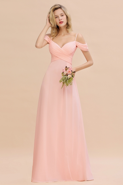 Brautjungfernkleider Lang Rosa | Chiffon Kleider Abendmoden