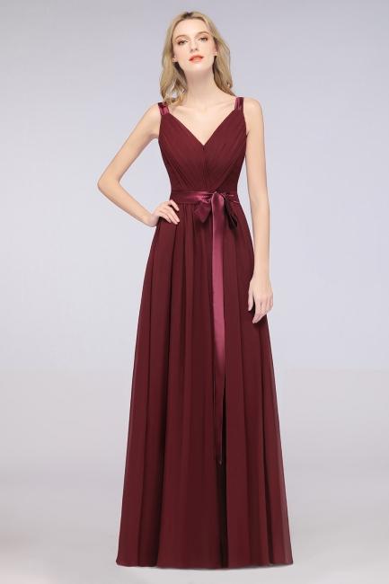 Schöne Abendkleider Weinrot | Brautjungfernkleider Lang Günstig