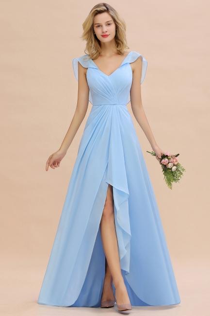 Baby Blau Brautjungfernkleider Chiffon | Brautjungfernkleid Lang Günstig