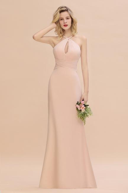 Brautjungfernkleider Lang Günstig   Chiffon Abendkleid Rosa