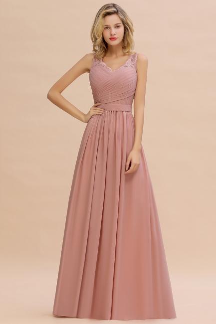 Altrosa Brautjungfernkleider Lang   Abendkleider Chiffon