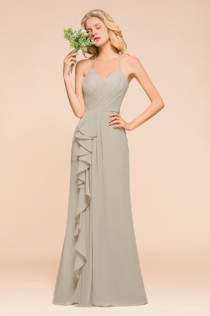 Silber Brautjungfernkleider Günstig   Hochzeitspartykleider Lang Chiffon