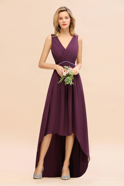 Grape Brautjungfernkleider Kurz Vorne Lang Hinter Abendmoden