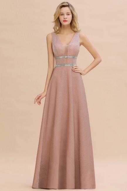 Abendkleider Lang V Ausschnitt | Rosa Abendmoden Online