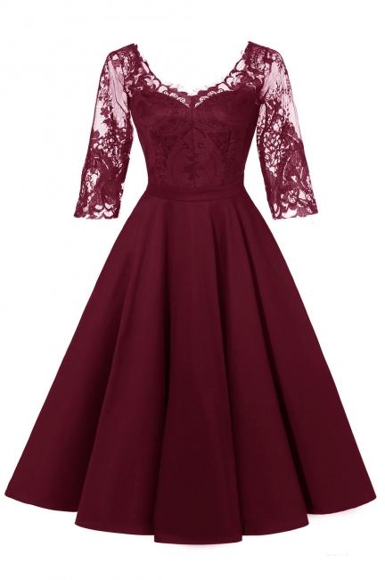 Abendkleider Mit Ärmel Rot   Cocktailkleid Kurz