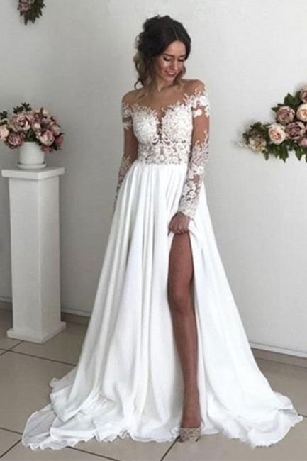 Schlichtes Brautkleid Mit Spitze   Hochzeitskleider mit Ärmel