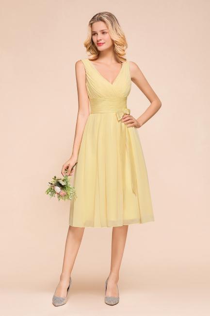 Gelb Brautjungfernkleider Kurz | Chiffon Kleider Zur Hochzeit