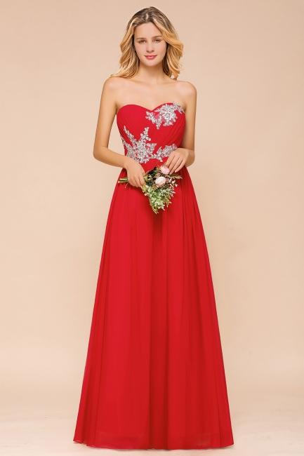 Rote Brautjungfernkleider Lang | Chiffon Kleider Günstig