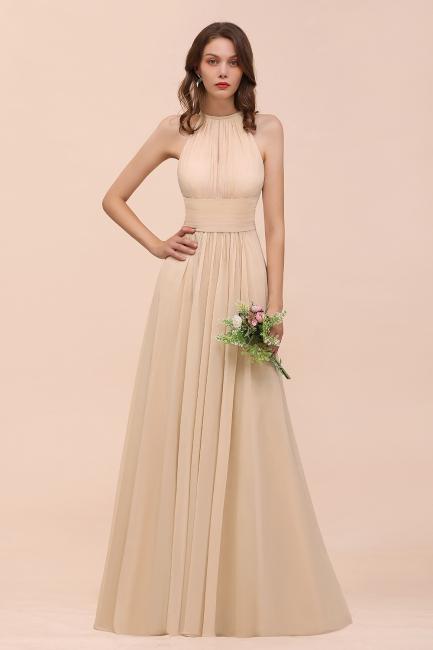 Champagne Brautjungfernkleider Lang Chiffon | Günstiges Brautjungfernkleid