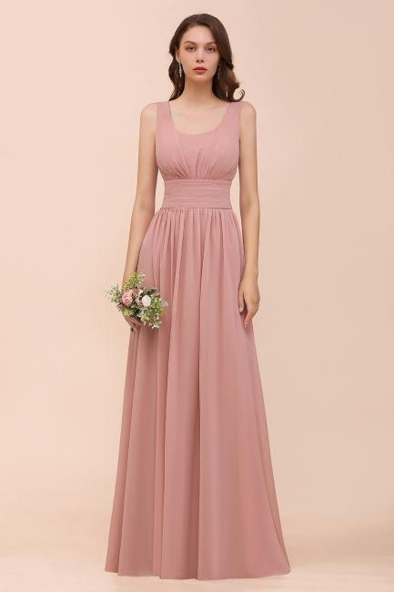 Brautjungfernkleider Lang Altrosa | Chiffon Hochzeitspartykleider