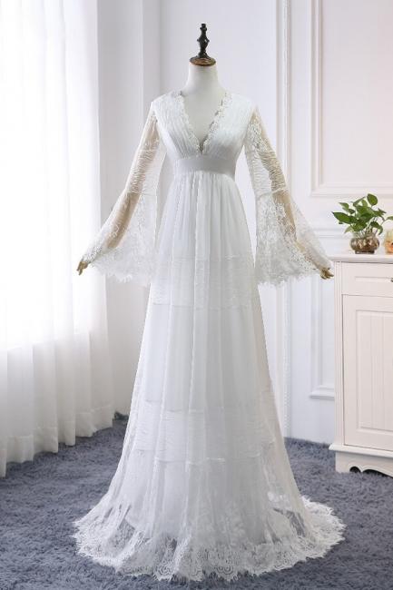 Elegante Hochzeitskleider mit Ärmel | Brautkleid Spitze Online