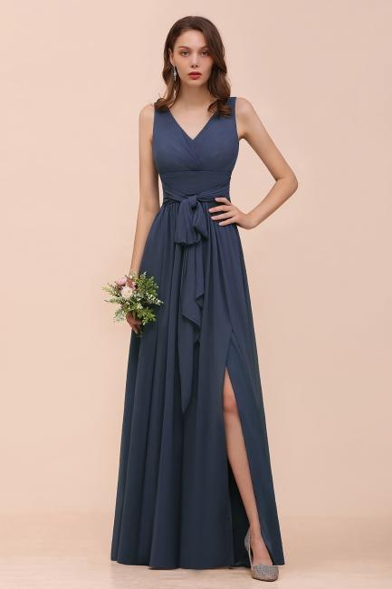 Elegante Brautjungfernkleider Lang Günstig | Blaue Chiffon Kleider