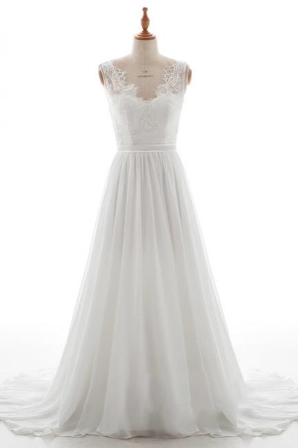 Schlichte Brautkleid mit Spitze | Hochzeitskleid A Linie