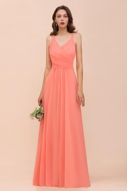 Schlichtes Partykleid | Orange Brautjungfernkleider Lang Günstig