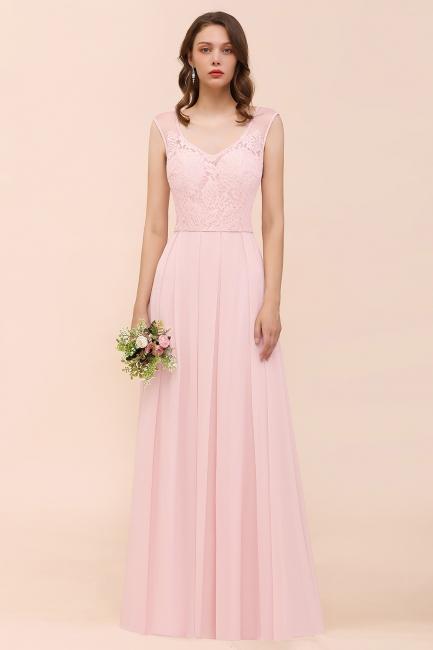 Elegante Brautjungfernkleider Lang Rosa | Hochzeitspartykleider Online