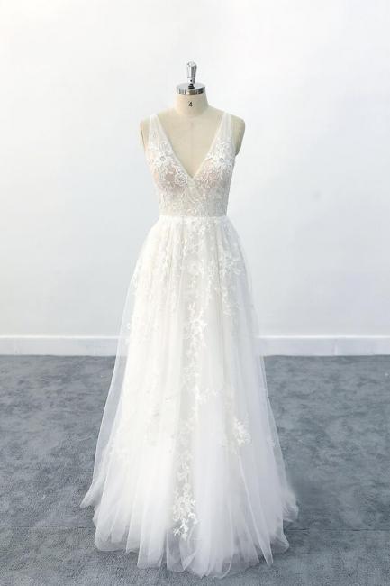 Brautkleid V Ausschnit   Schlichte Hochzeitskleider mit Spitze