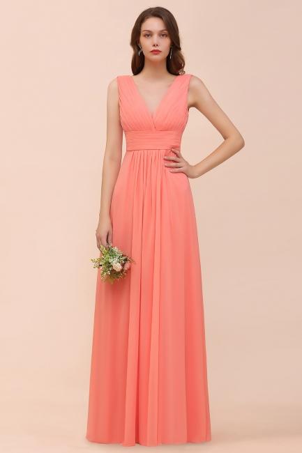 Orange Brautjungfernkleider | Hochzeitspartykleider Lang Günstig