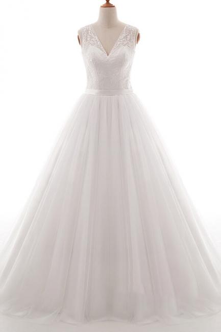 Weiße Brautkleid A Linie | Hochzeitskleider Mit Spitze