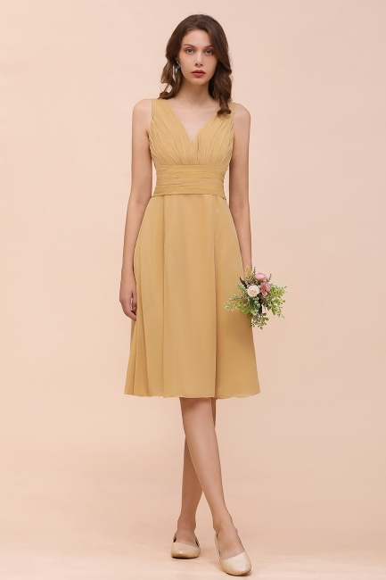 Brautjungfernkleider Gold | Kurzes Brautjungfernkleid Günstig