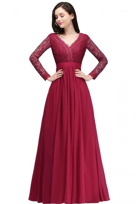 Abendkleider mit Ärmel   Abiballkleider Lang Rot