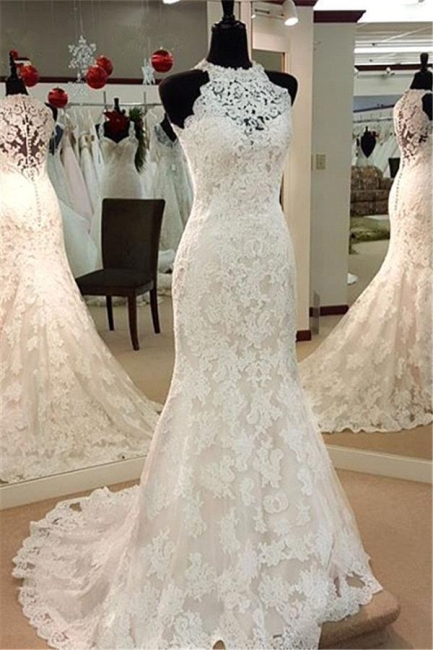 Brautkleider Spitze Meerjunfrau Weiß Hochzeitsmode für Mollige Günstig