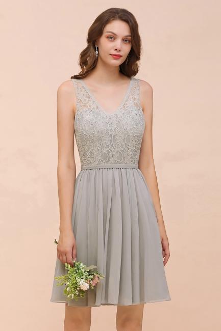 Silber Brautjungfernkleider Kurz | Chiffon Kleider Für Brautjungfern