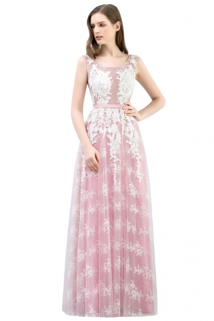 Abendkleid Lang Rosa | Abiballkleider mit Spitze