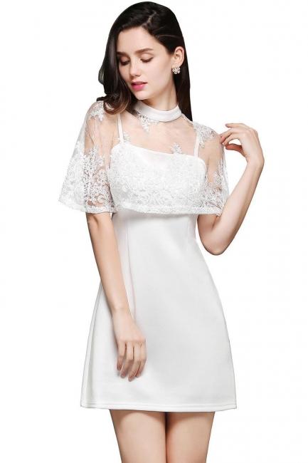 Weiße Cocktailkleider Günstig | Abendkleider Kurz mit Spitze
