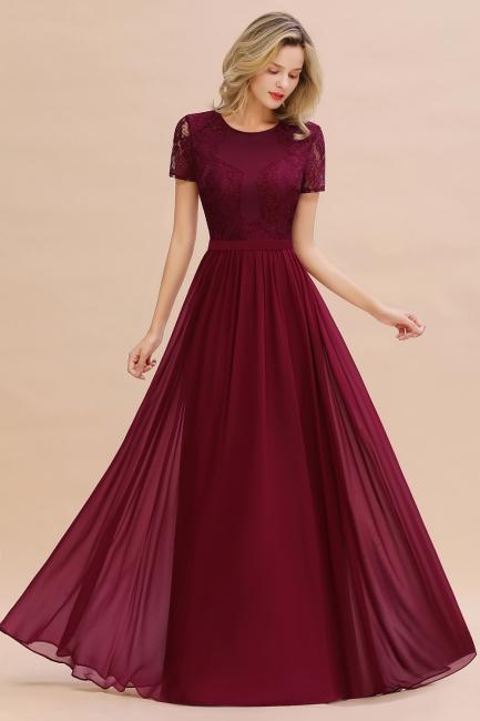Elegante Abendkleider Lang Weinrot | Abiballkleider Ballkleider mit Ärmel