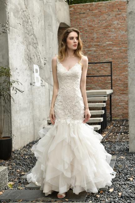 Hochzeitskleid Meerjungfrau Spitze   Brautkleider Günstig Online
