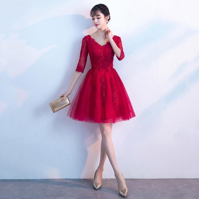 Cocktailkleider Knielang mit Ärmel | Rote Abendkleider Kurz