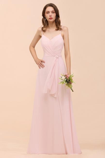 Schickt Brautjungfernkleider Rosa   Chiffon Kleider Lang Günstig