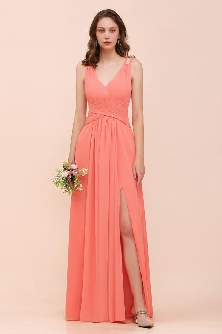 Orange Brautjungfernkleider Lang Günstig   Chiffon Kleider Abendmoden