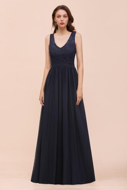 Schwarze Brautjungfernkleider Günstig   Abendkleid Lang V Ausschnitt