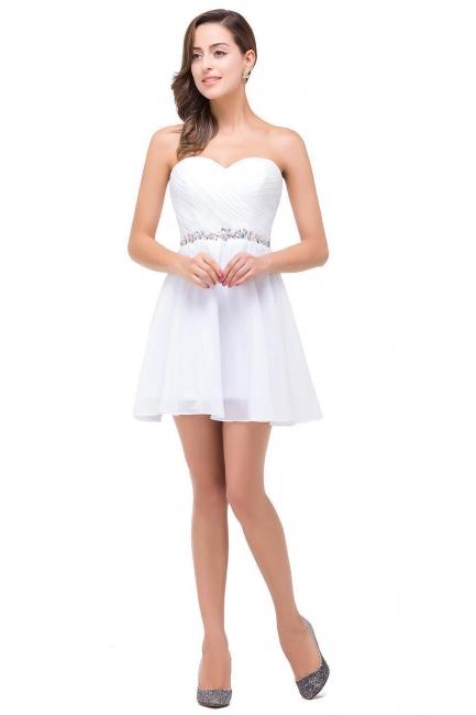 Weiße Cocktailkleider Kurz   Chiffon Kleider Abiballkleider