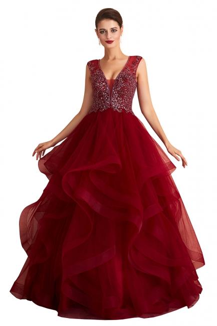 Rote Abendkleider Lang | Abiballkleider V Ausschnitt